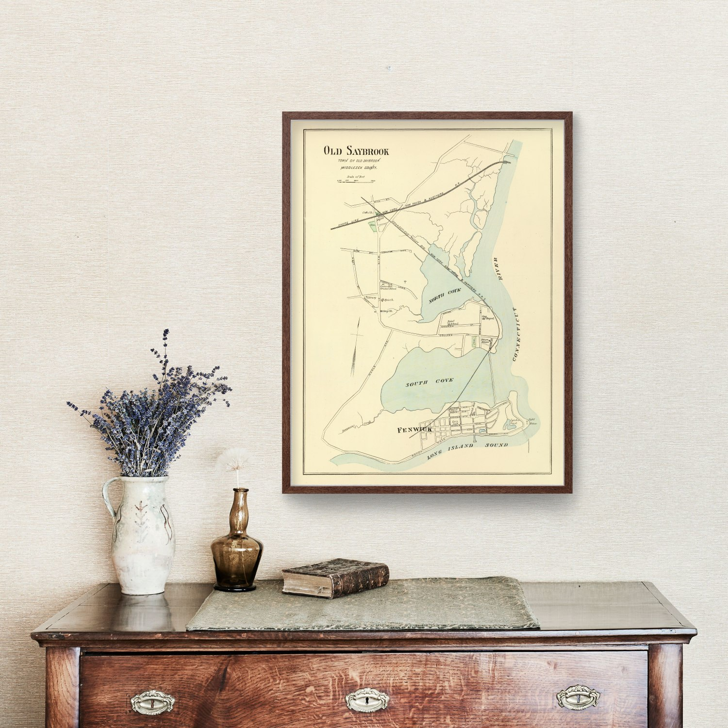 Vintage Map of Old Saybrook, Connecticut 1893