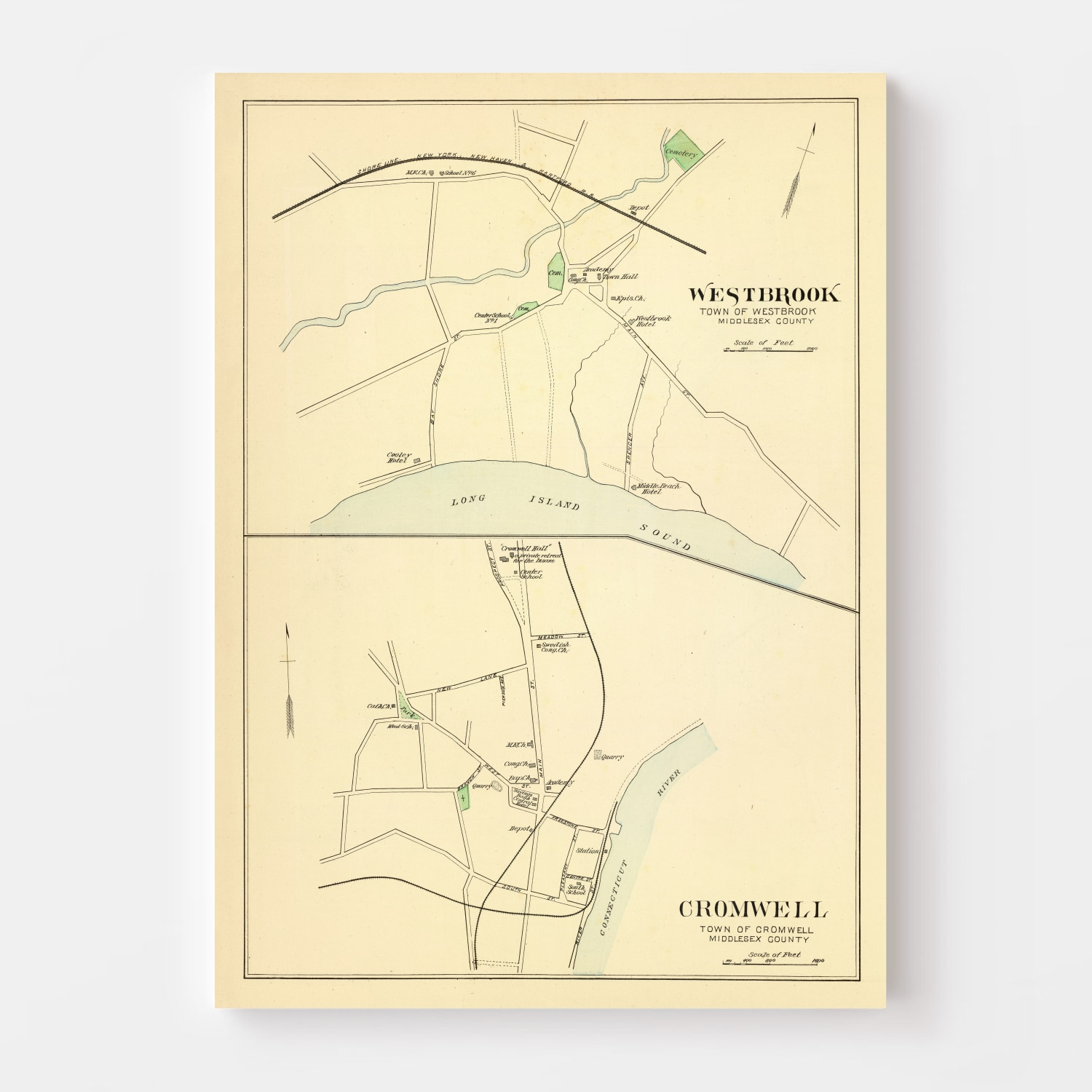 Vintage Map of Cromwell, Connecticut 1893