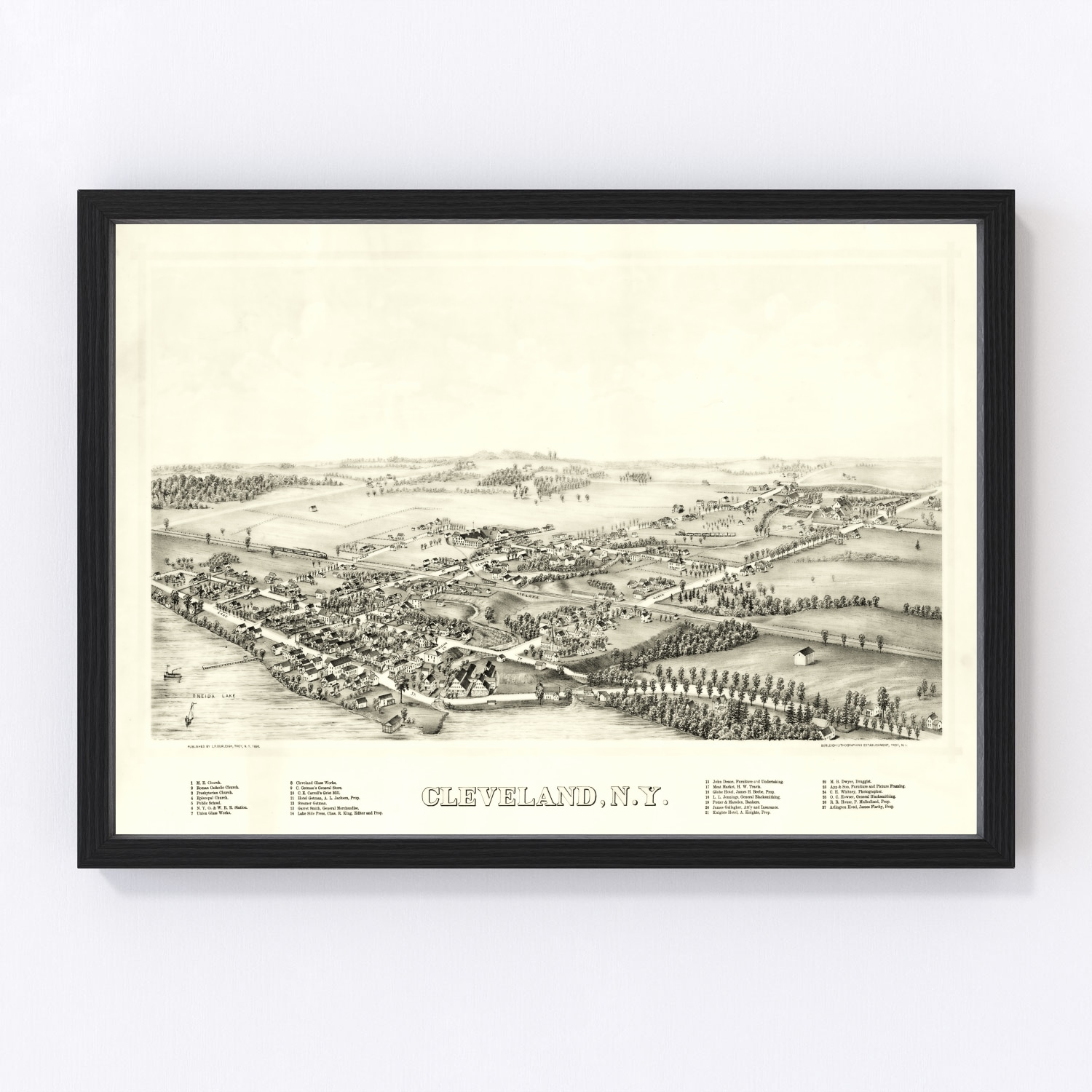 Vintage Map of Cleveland, New York 1890