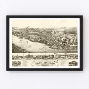 Vintage Map of East Haddam, Connecticut 1880
