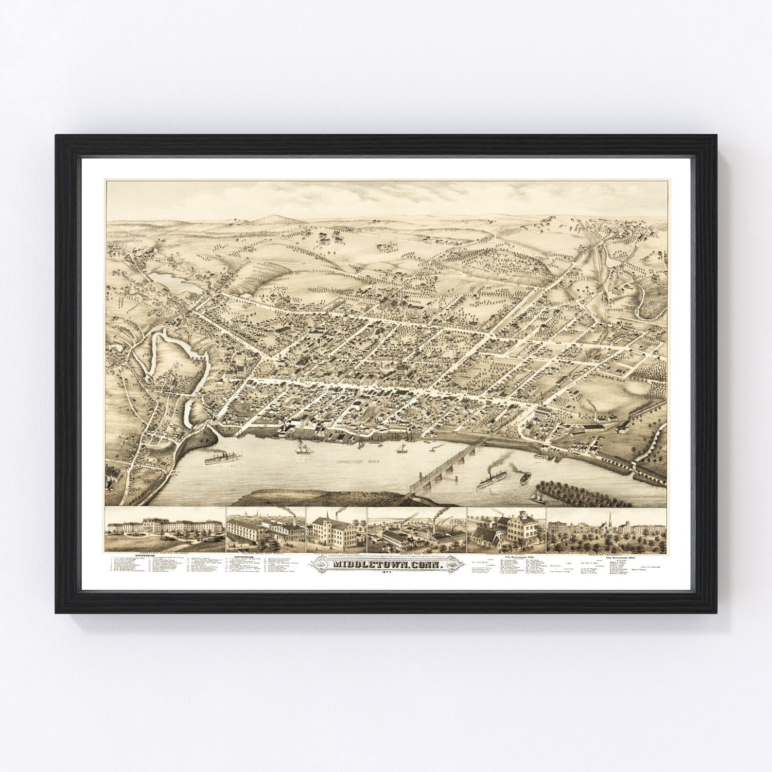 Vintage Map of Middletown, Connecticut 1877