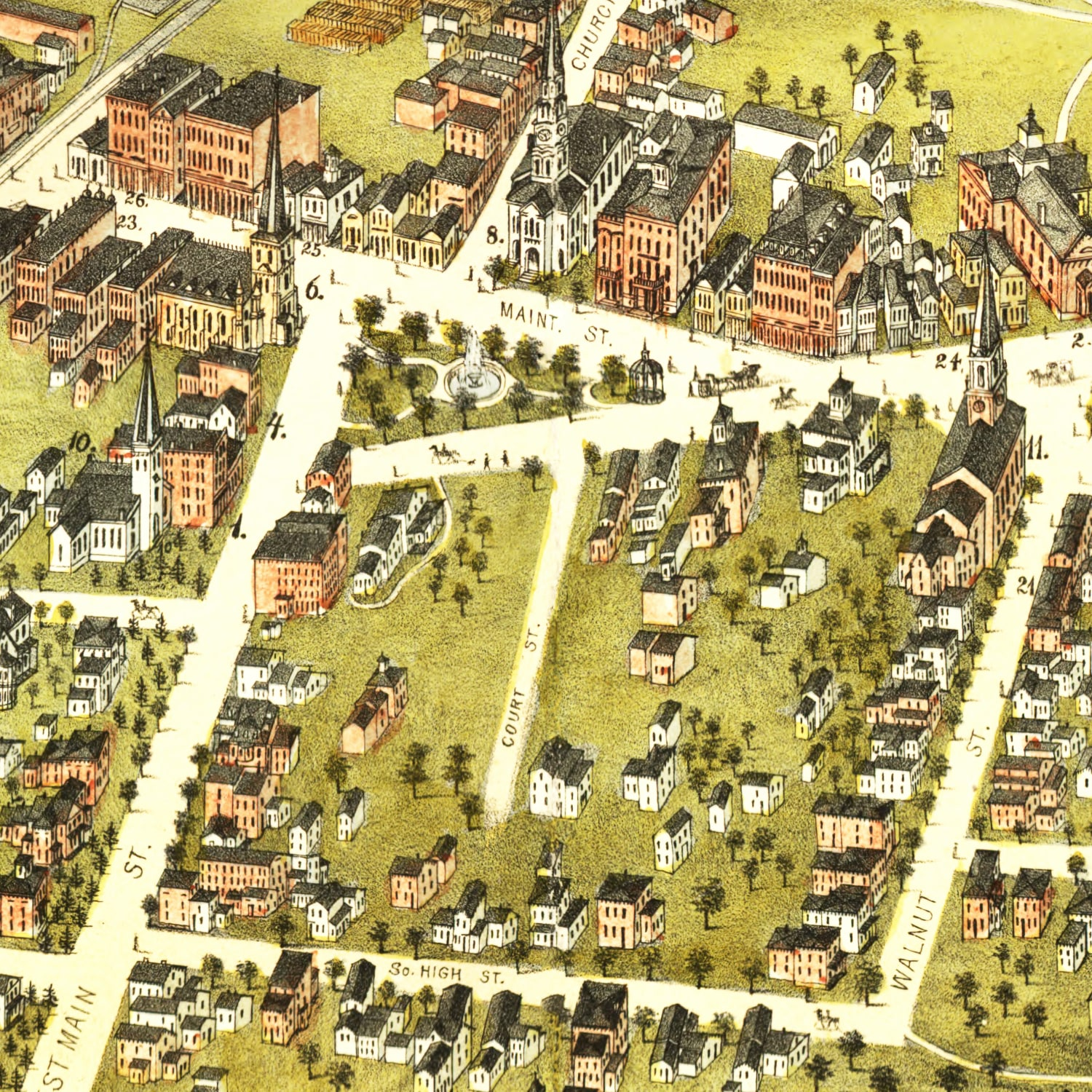 Vintage Map of New Britain, Connecticut 1875