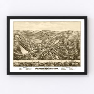 Vintage Map of Stafford Springs, Connecticut 1878
