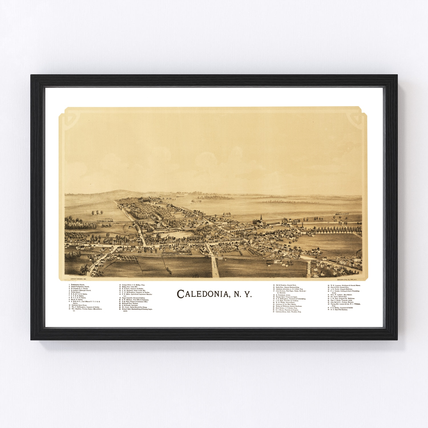Vintage Map of Caledonia, New York 1892