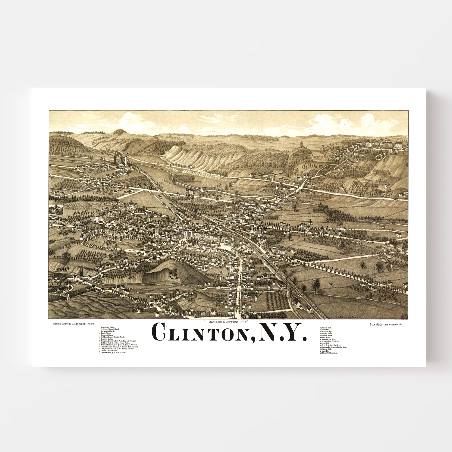 Vintage Map of Clinton, New York 1885