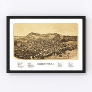 Vintage Map of Cooperstown, New York 1890