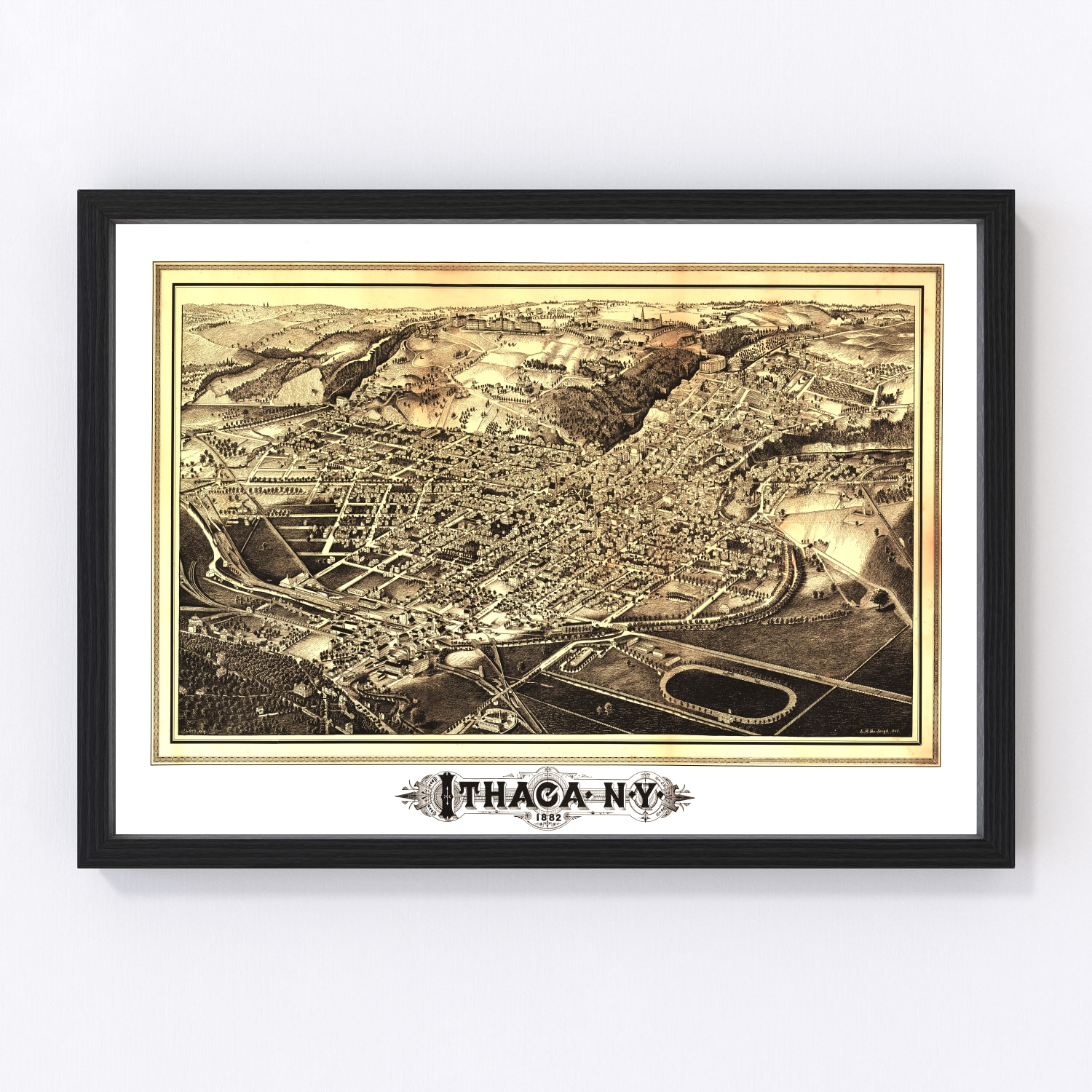 Vintage Map of Ithaca, New York 1882