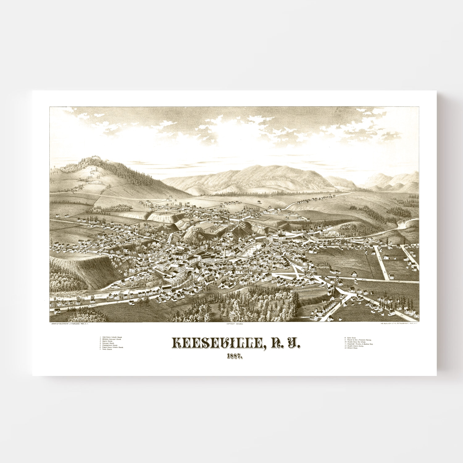 Vintage Map of Keeseville, New York 1887