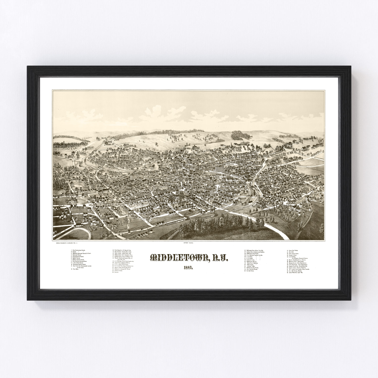 Vintage Map of Middletown, New York 1887