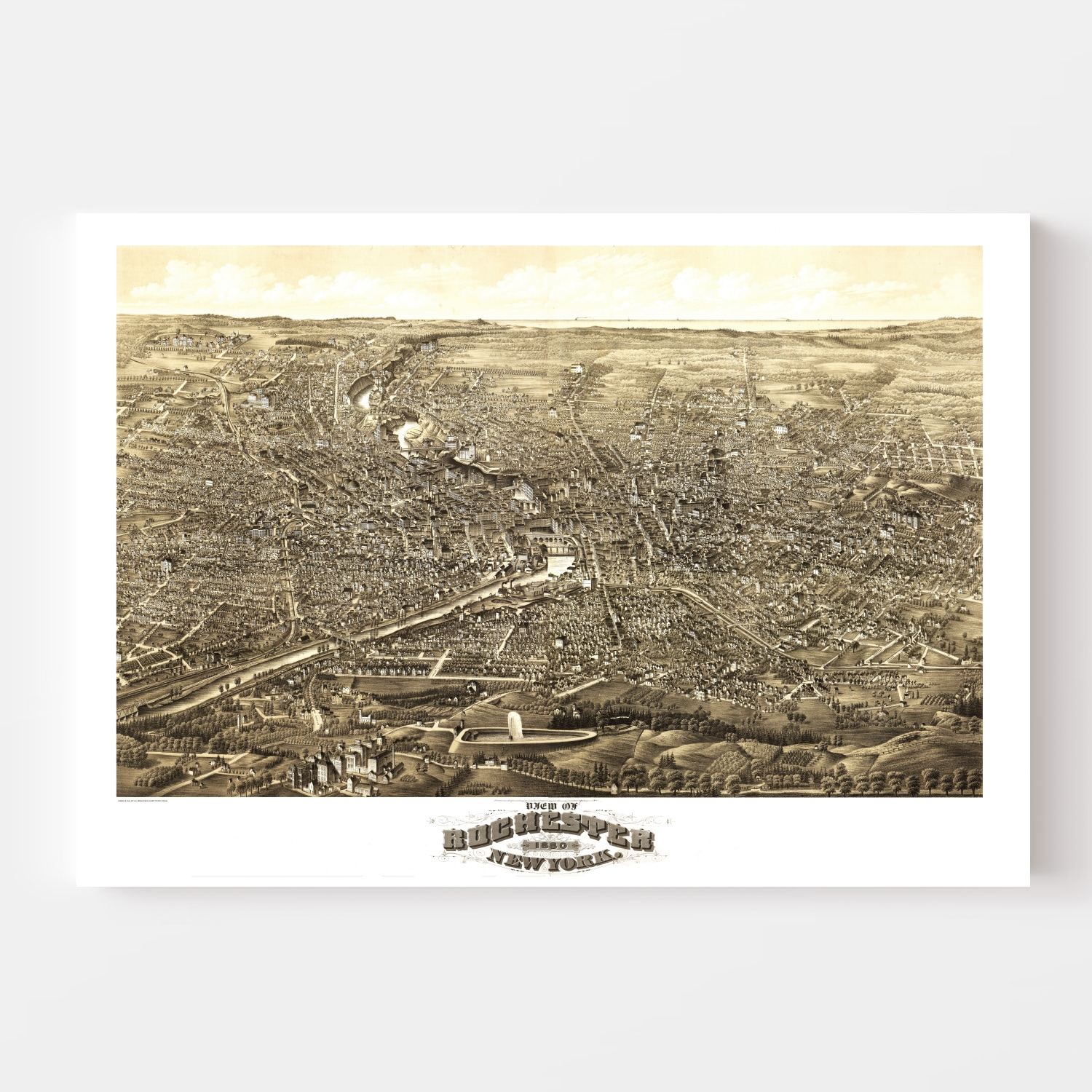 Vintage Map of Rochester, New York 1880