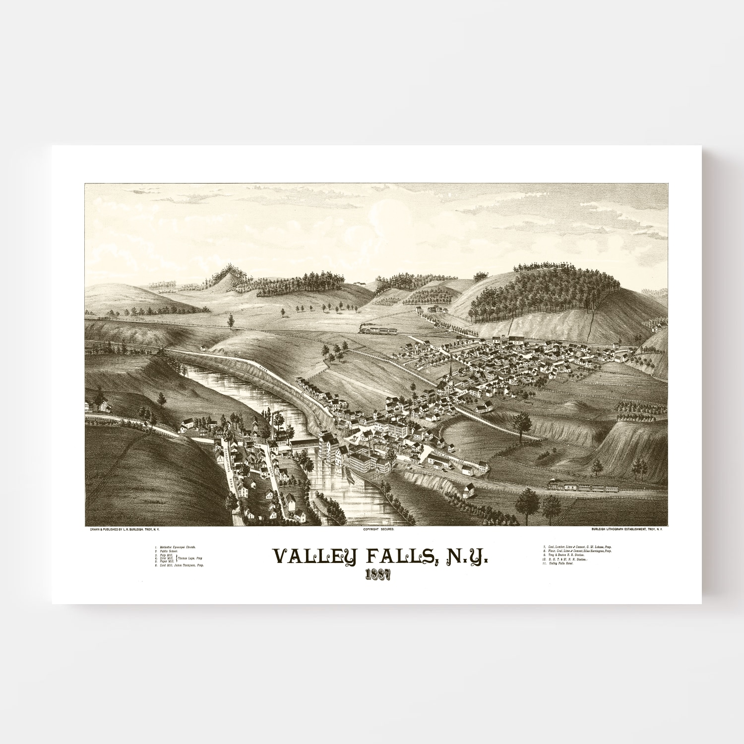 Vintage Map of Valley Falls, New York 1887