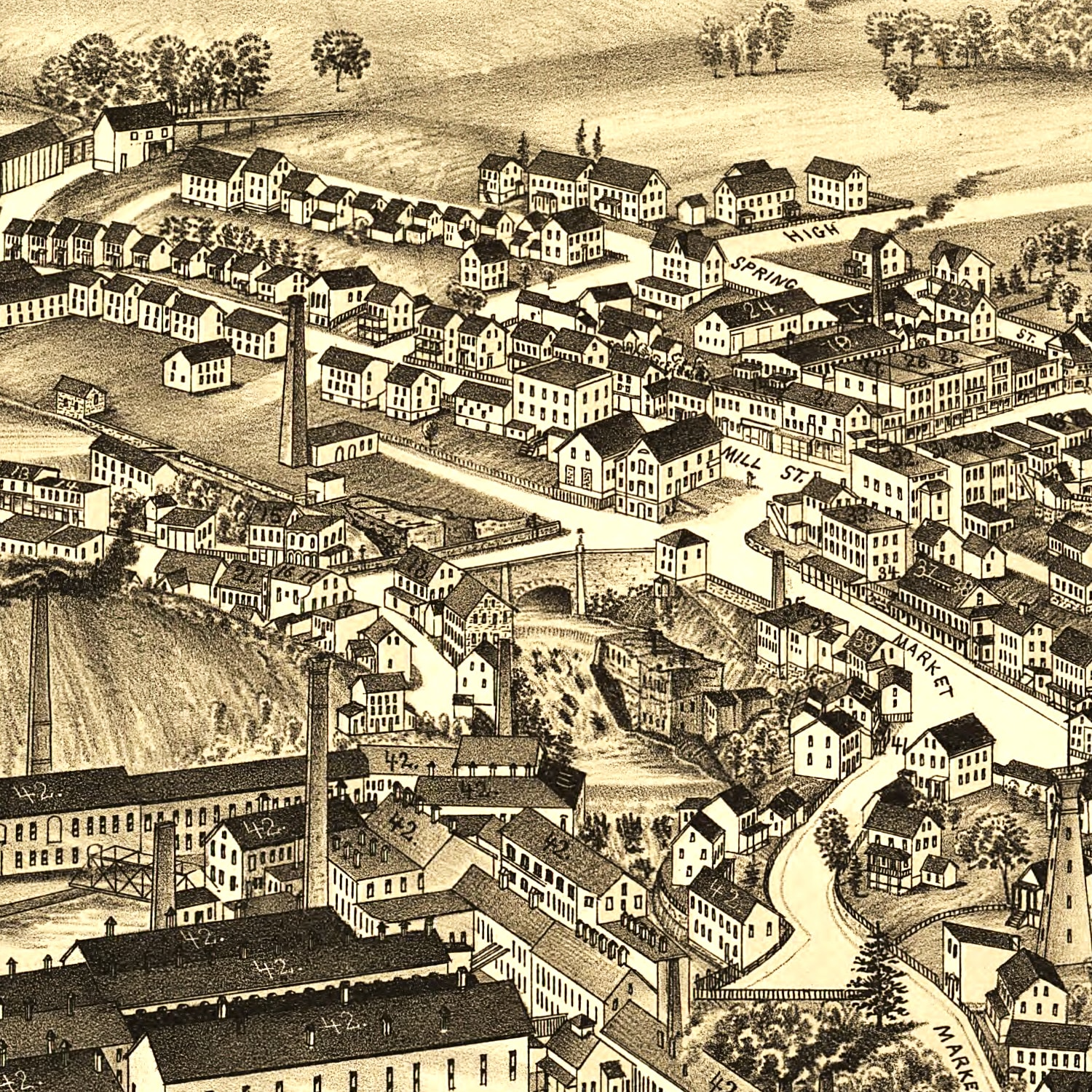 Vintage Map of Wappingers Falls, New York 1889