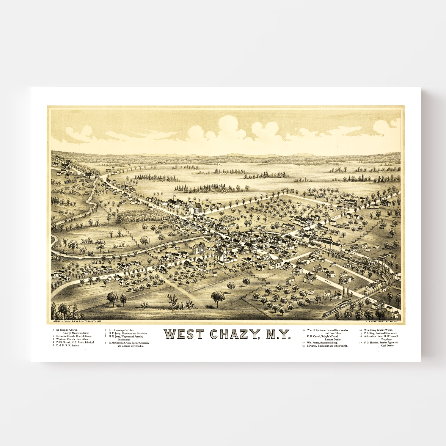Vintage Map of West Chazy, New York 1899