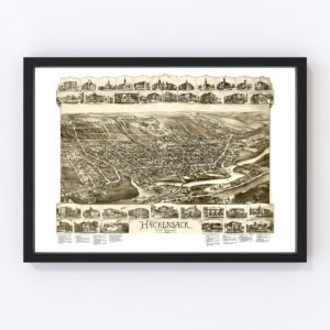 Vintage Map of Hackensack, New Jersey 1896
