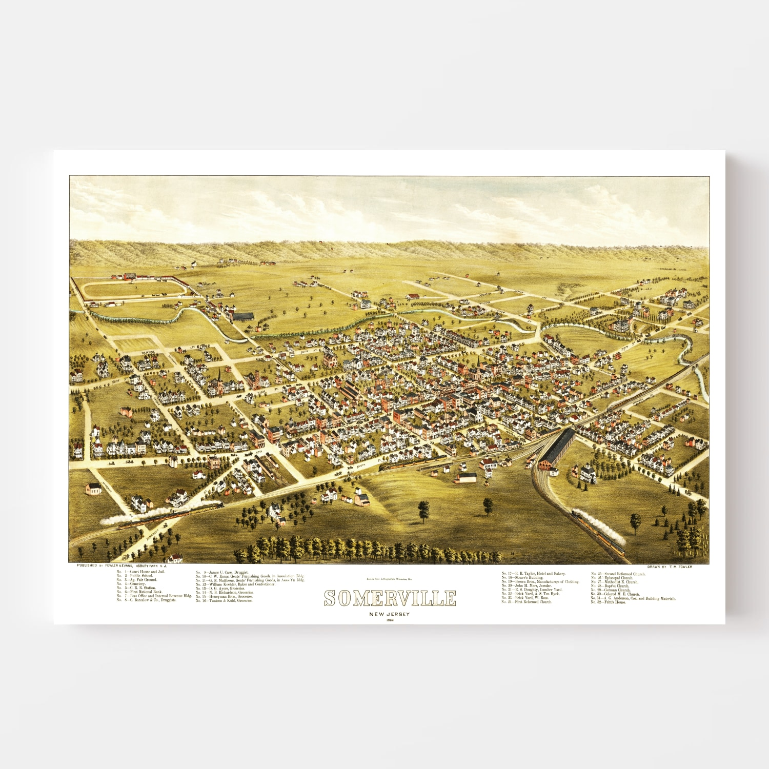 Vintage Map of Somerville, New Jersey 1882