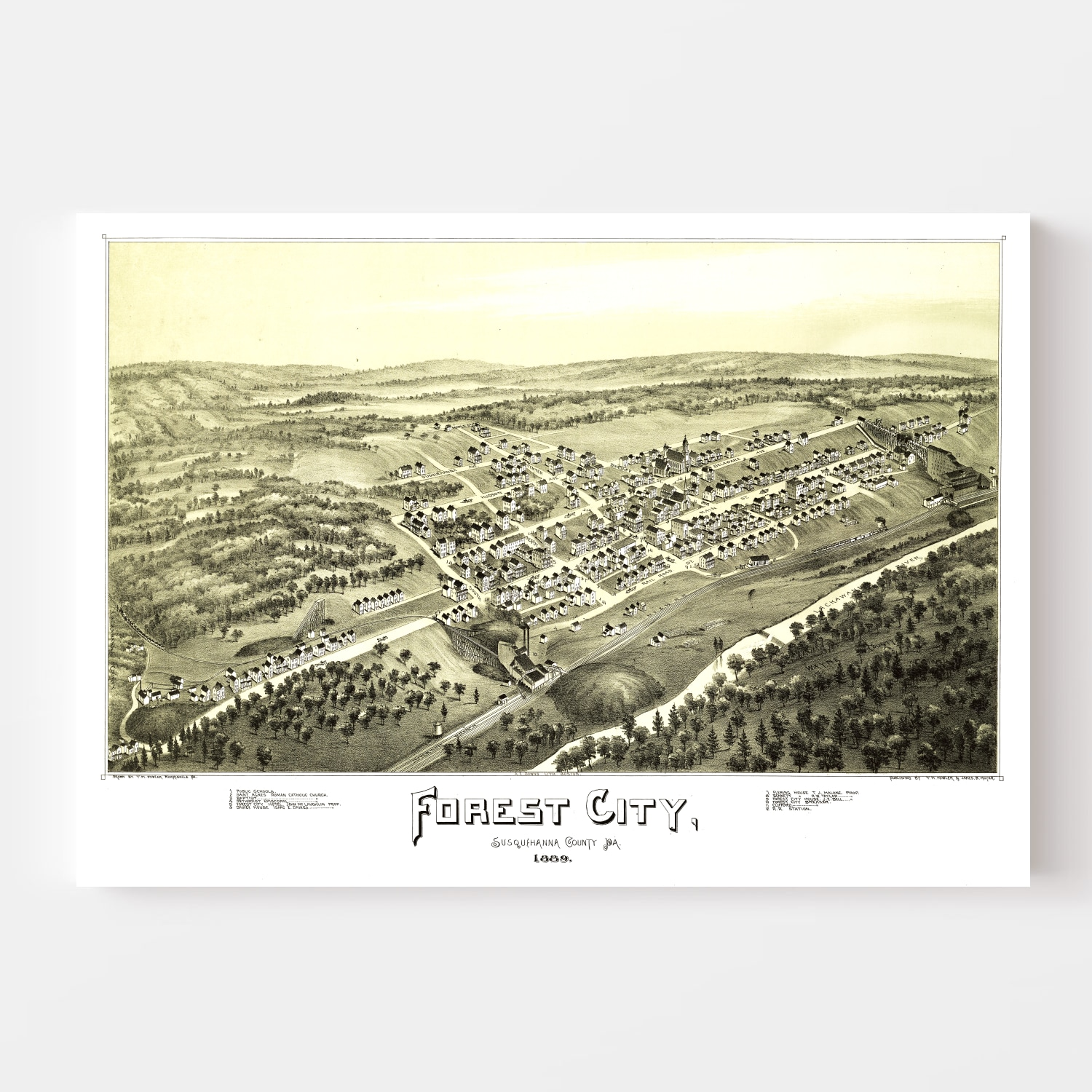 Vintage Map of Forest City, Pennsylvania 1889