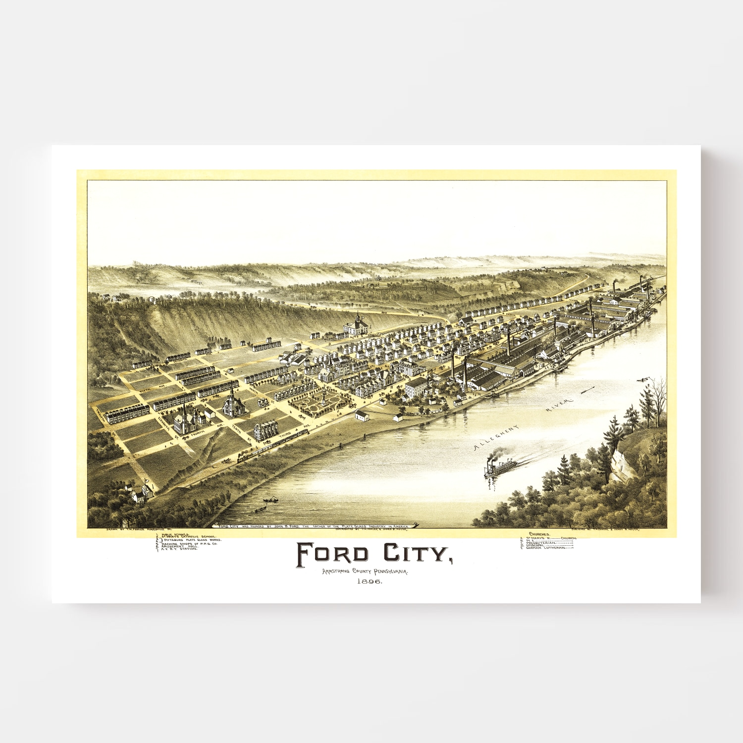 Vintage Map of Ford City, Pennsylvania 1896