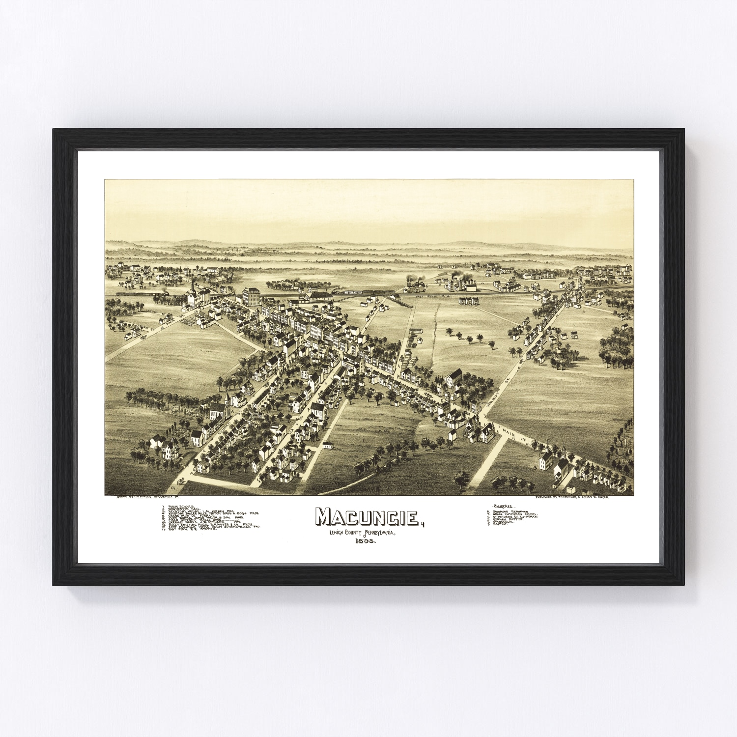 Vintage Map of Macungie, Pennsylvania 1893