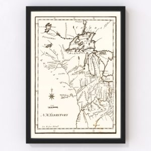 Vintage Map of the Northwest Territory 1795