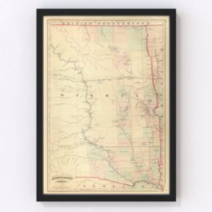 Vintage Map of Dakota Territory 1875