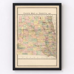 Vintage Map of Dakota Territory 1885