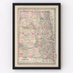 Vintage Map of Dakota Territory 1876
