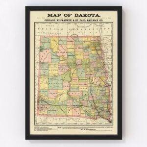 Vintage Map of Dakota Territory 1882
