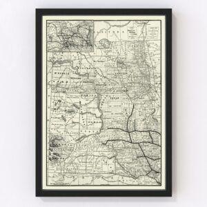 Vintage Map of Dakota Territory 1888