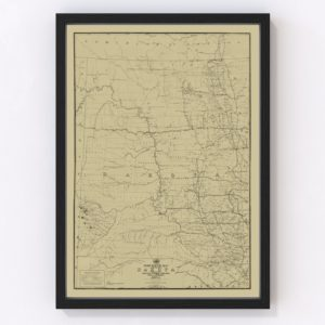 Vintage Post Route Map of Dakota Territory 1885