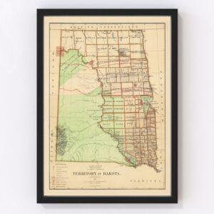 Dakota Territory Historic Map 1876
