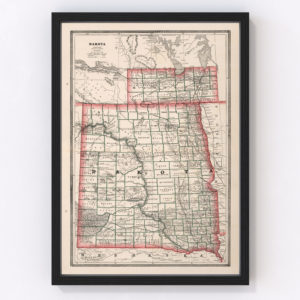 Vintage Map of Dakota Territory 1883