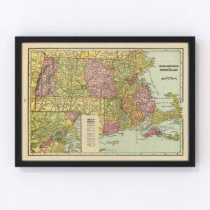 Vintage Map of Massachusetts & Rhode Island 1909
