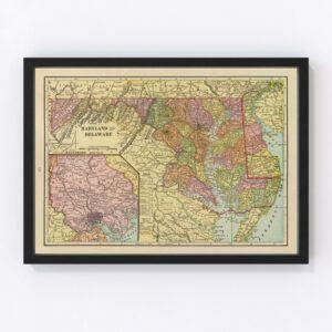 Vintage Map of Maryland & Delaware 1909