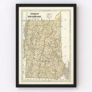 Vintage Map of Vermont & New Hampshire 1842