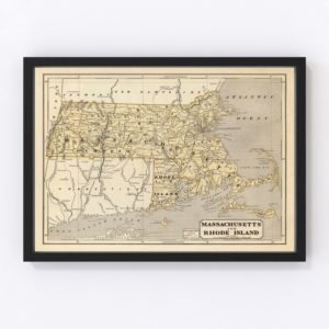Vintage Map of Massachusetts & Rhode Island 1842