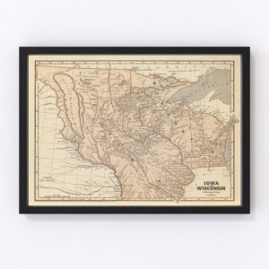 Vintage Map of Iowa & Wisconsin 1842
