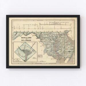 Vintage Map of Maryland & Delaware 1842
