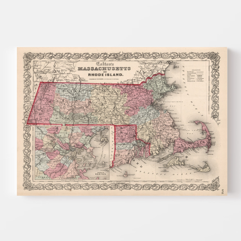 Vintage Map of Massachusetts & Rhode Island 1861