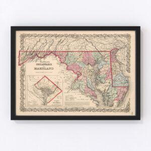 Vintage Map of Maryland & Delaware 1861