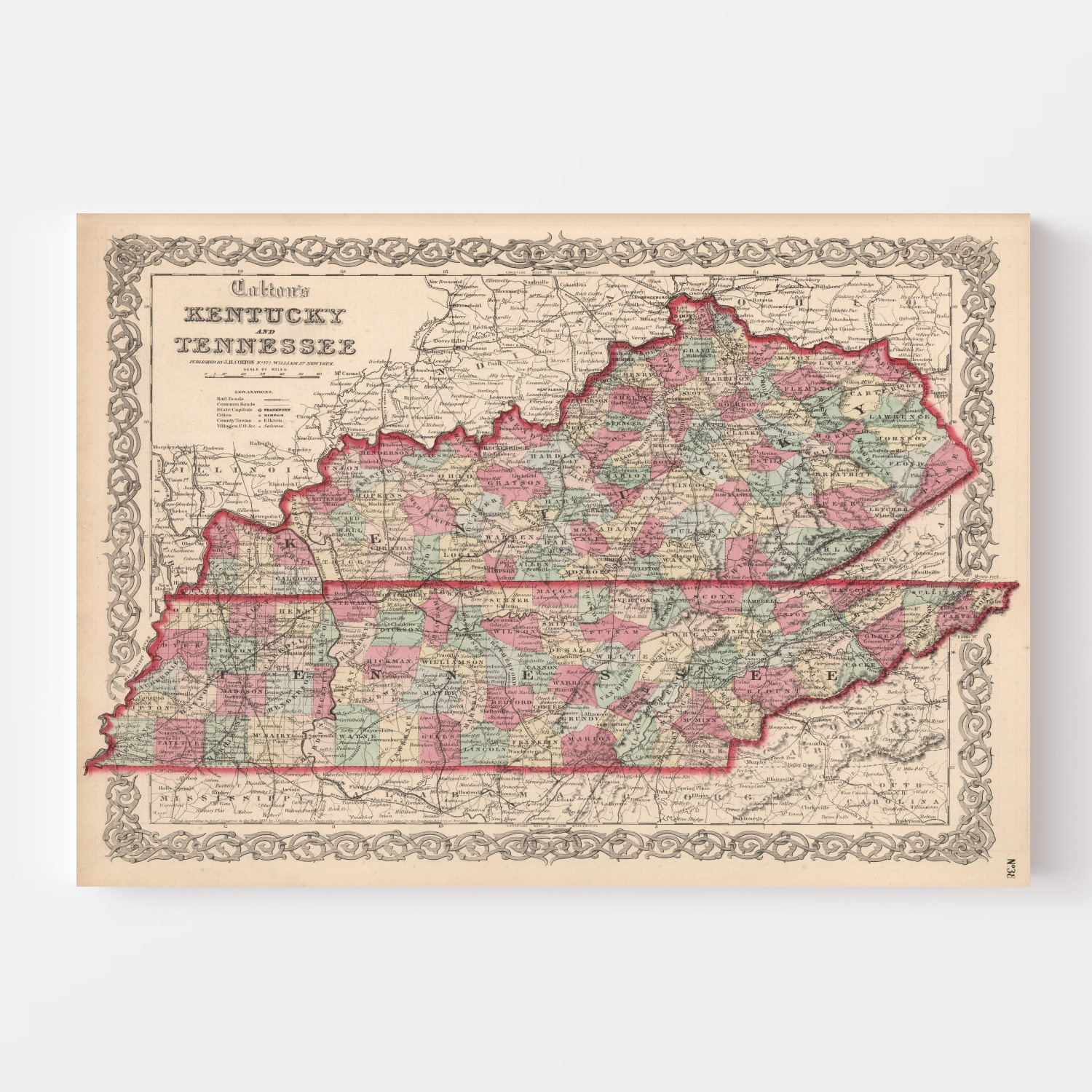 Vintage Map of Kentucky & Tennessee 1861