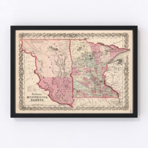 Vintage Map of Minnesota & Dakota 1861