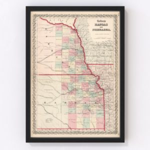 Vintage Map of Kansas & Nebraska 1861