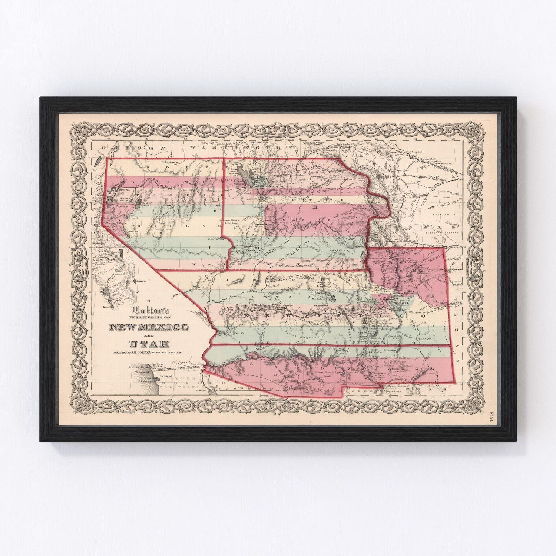 Vintage Map of New Mexico & Utah 1861