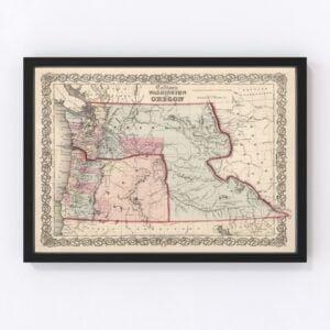 Vintage Map of Washington & Oregon 1861
