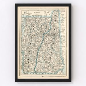 Vintage Map of New Hampshire & Vermont 1893