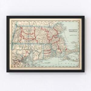 Vintage Map of Massachusetts & Rhode Island 1893