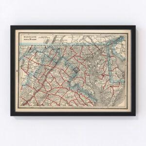 Vintage Map of Maryland & Delaware 1893