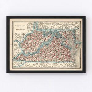 Vintage Map of Virginia, West Virginia, Maryland & Delaware 1893