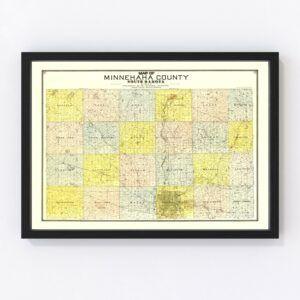 Vintage Map of Minnehaha County, South Dakota 1893
