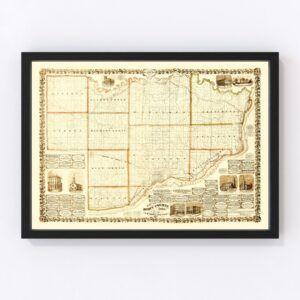Vintage Map of Scott County, Iowa 1860